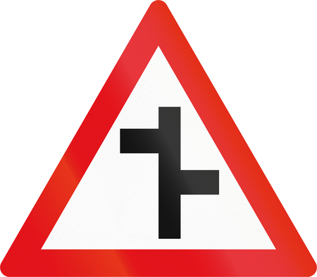 country side: Road sign used in the African country of Botswana - Staggered side road junctions.