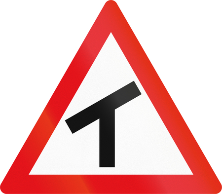 Road sign used in the African country of Botswana - Skewed T-junction.