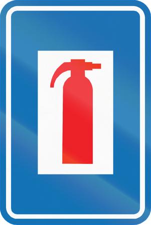 informational: Belgian informational road sign - Fire extinguisher.