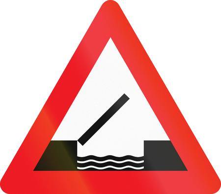 movable bridge: Warning road sign used in Denmark - Opening or swing bridge ahead.