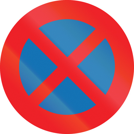 stopping: Belgian regulatory road sign - No Stopping.