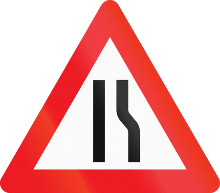 narrows: Warning road sign used in Denmark - road narrows on right. Stock Photo