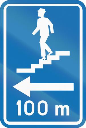 underpass: Belgian informational road sign - Pedestrian underpass.