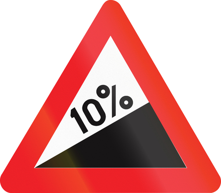uphill: Belgian warning road sign - - Steep hill upward. Stock Photo