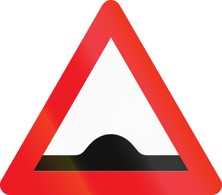bump: Warning road sign used in Denmark - Speed bump. Stock Photo