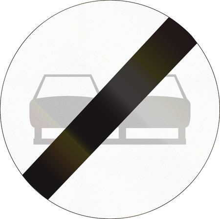 overtaking: Belgian regulatory road sign - End of no overtaking.