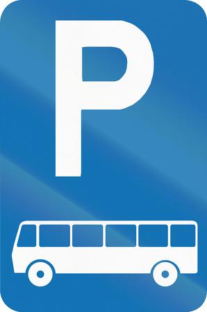 bus parking: Belgian regulatory road sign - parking place for buses.