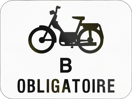 mopeds: Additional road sign used in Belgium - Mopeds class B obligatory. Stock Photo