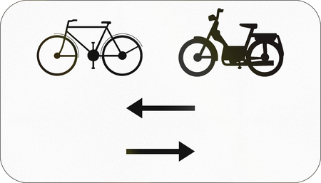 both: Additional road sign used in Belgium - Bikes and mopeds in both directions.