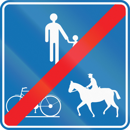 end of the road: Road sign used in Belgium - End of path for pedestrians, cyclists and equestrians.