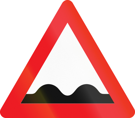 road ahead: Warning road sign used in Denmark - Uneven road ahead.