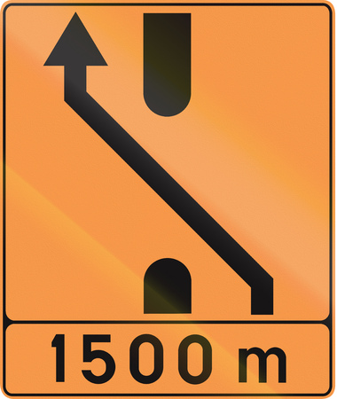 median: Temporary road sign used in Belgium - Lane configuration.