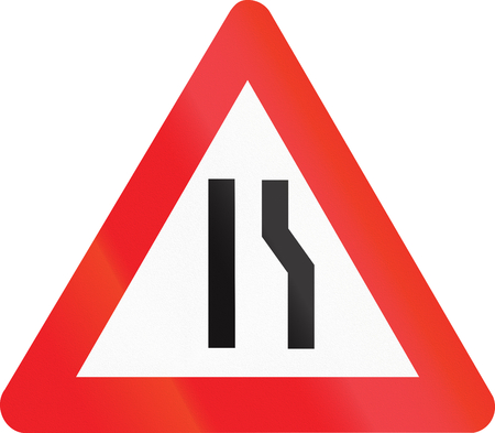 narrows: Belgian warning road sign - Road narrows on the right side. Stock Photo