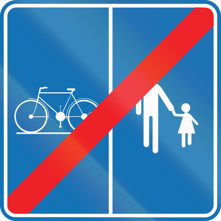 end of the road: Road sign used in Belgium - End of path for pedestrians and cyclists with separate lanes. Stock Photo