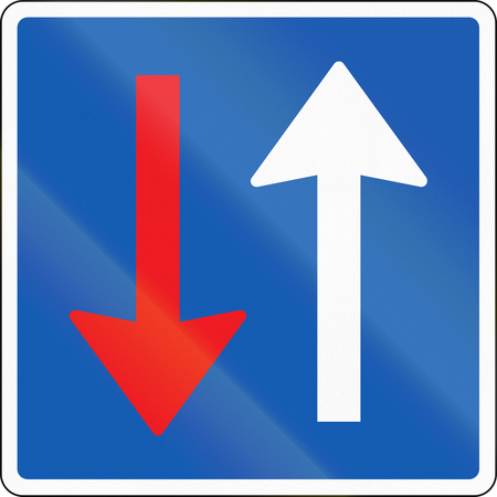 opposing: Road sign used in Denmark - Priority over oncoming vehicles. Stock Photo