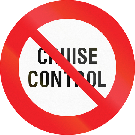 Belgian regulatory road sign - No cruise control. Stock Photo