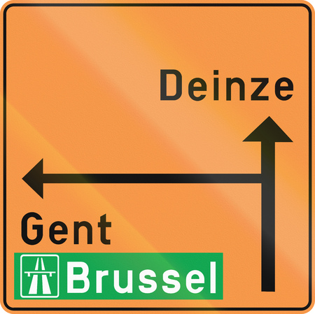 temporary: Temporary direction road sign used in the country of Belgium.