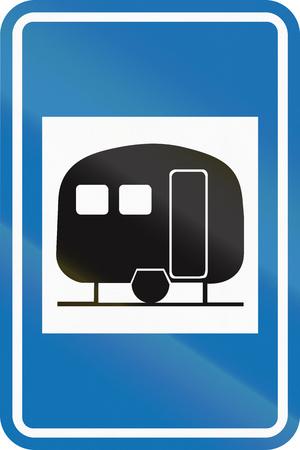 informational: Belgian informational road sign - Caravan site.