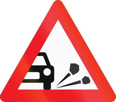 loose: Warning road sign used in Denmark - Loose chippings.