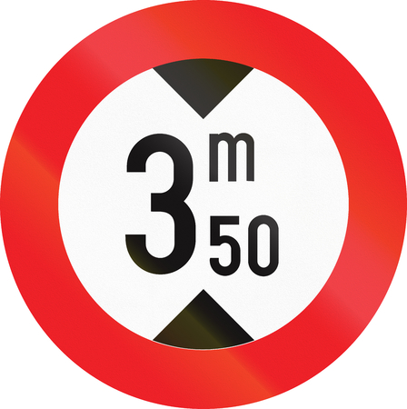 height: Belgian regulatory road sign - Height limit. Stock Photo