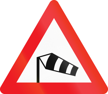 winds: Warning road sign used in Denmark - Side winds. Stock Photo