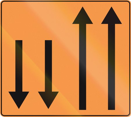 on temporary: Temporary road sign used in Belgium - Lane configuration.