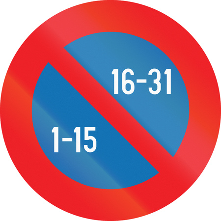 Belgian regulatory road sign - Semi-monthly parking prohibition. Stock Photo