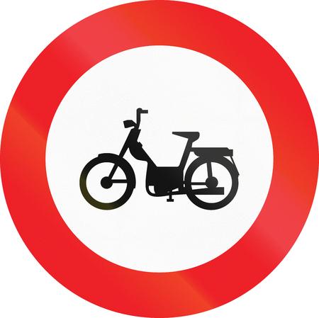 mopeds: Belgian regulatory road sign - No mopeds.