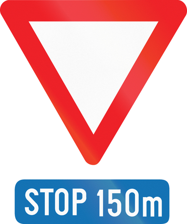 meters: Belgian regulatory road sign - Stop in 150 meters. Stock Photo