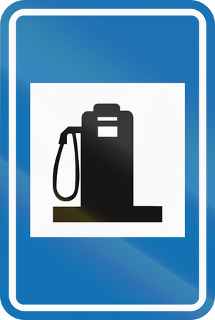 petrol station: Belgian informational road sign - Petrol station.