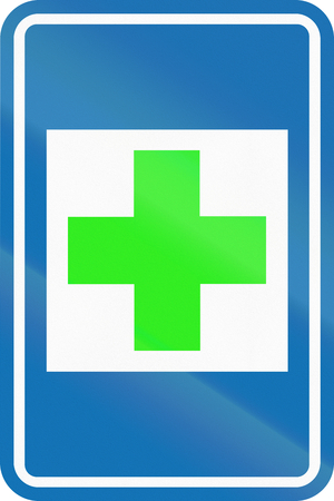 informational: Belgian informational road sign - First aid. Stock Photo
