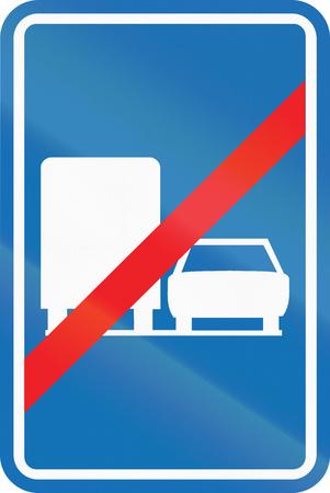 overtake: Belgian regulatory road sign - Trucks are not allowed to overtake.
