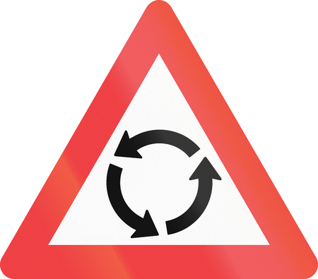 roundabout: Warning road sign used in Denmark - Roundabout warning.