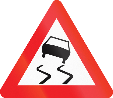 skidding: Belgian warning road sign - Slippery road.