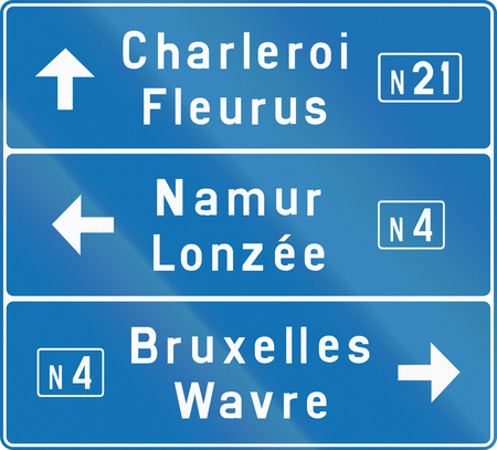 highway 3: Direction road sign used in the country of Belgium.
