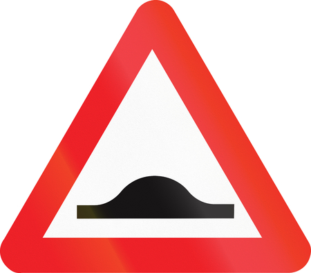 bump: Belgian warning road sign - Speed bump. Stock Photo