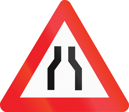 Belgian warning road sign - Road narrows on both sides. Stock Photo