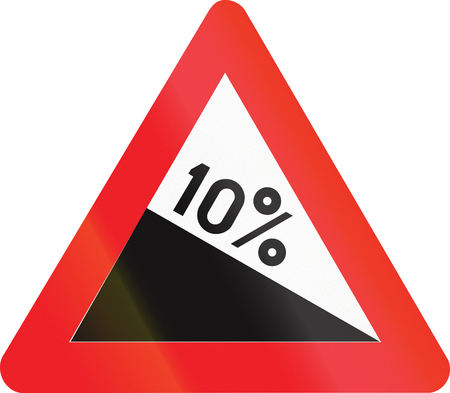 downward: Belgian warning road sign - Steep hill downward.