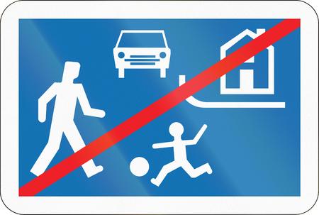 recreation area: Belgian regulatory road sign - End of recreation area.
