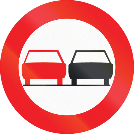 passing the road: Belgian regulatory road sign - No overtaking. Stock Photo