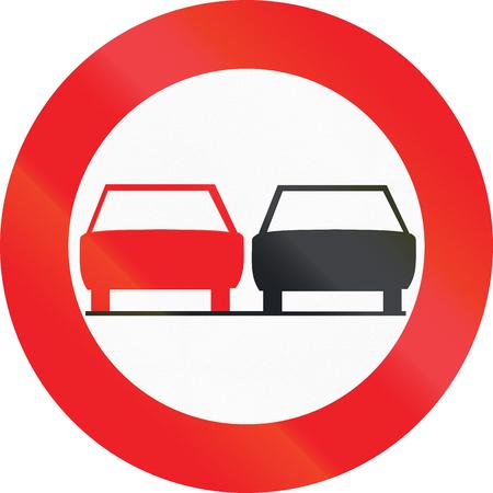 Belgian regulatory road sign - No overtaking. Stock Photo
