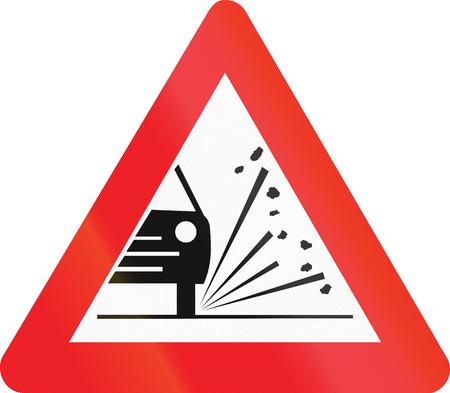 loose: Belgian warning road sign - Loose chippings.