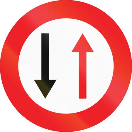 opposing: Belgian regulatory road sign - Give way to oncoming traffic.
