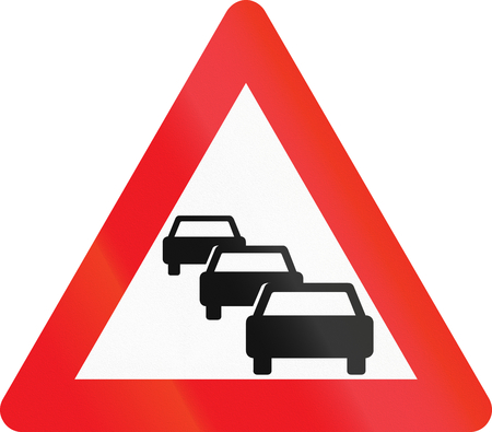 queuing: Warning road sign used in Denmark - Traffic queues likely.