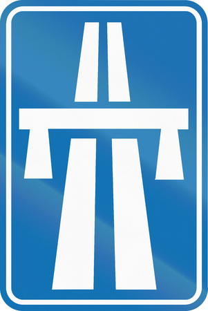 motorway: Belgian informational road sign - Beginning of Motorway. Stock Photo