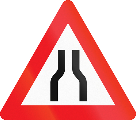 narrows: Warning road sign used in Denmark - Road narrows from both sides. Stock Photo