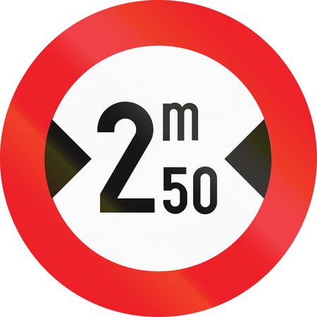width: Belgian regulatory road sign - Width limit.