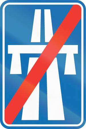 informational: Belgian informational road sign - End of motorway.