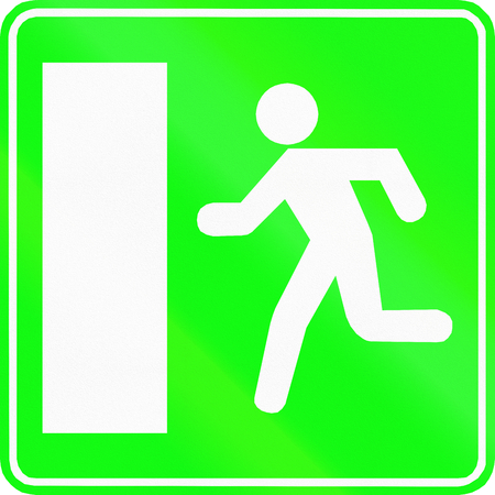 exit sign: Belgian informational road sign - Emergency exit sign.