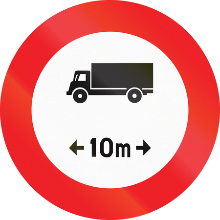 exceeding: Belgian regulatory road sign - No vehicles or combination of vehicles exceeding 10 meters.